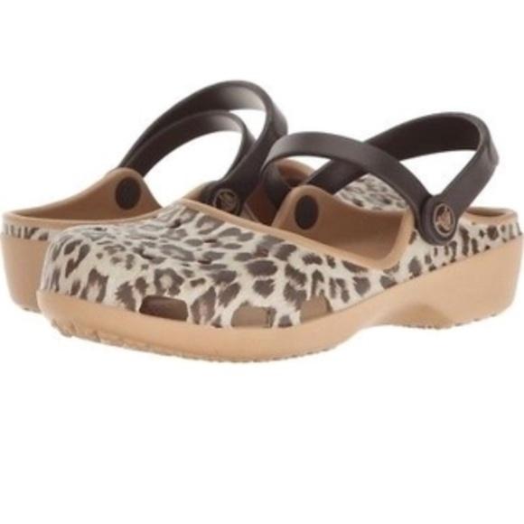 25ff49fc798c6 Crocs Karin Clog Mary Jane Tan Leopard Flat Sz 9